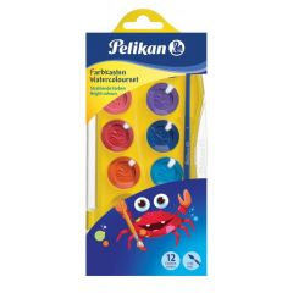 Vodové farby Pelikan Junior 12 farieb + štetec