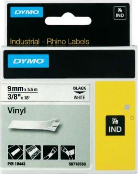 Originál DYMO páska S0718580 5,5m x 9mm vinyl čierna na bielej 18443